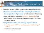 use of findings to improve care