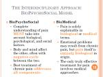 the interdisciplinary approach biopsychosocial model