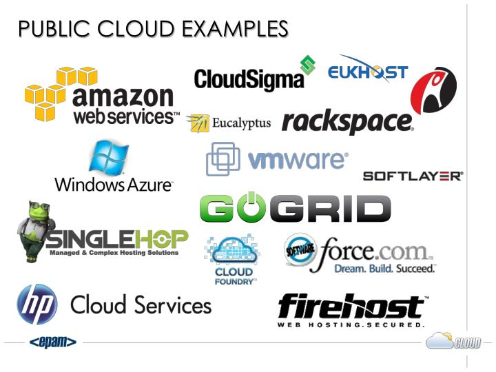 Public clouds examples.