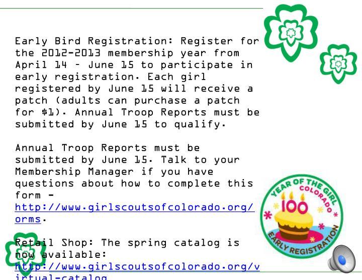 Early Bird Registration: