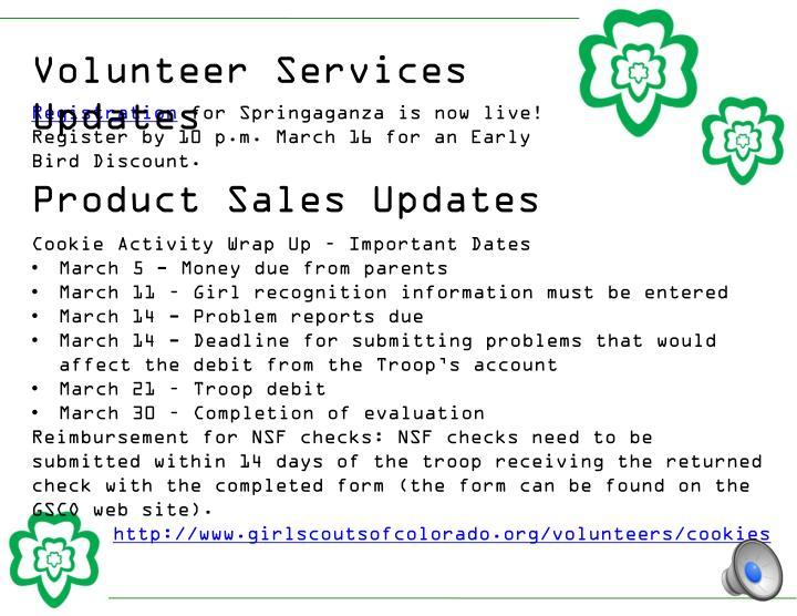 Volunteer Services Updates