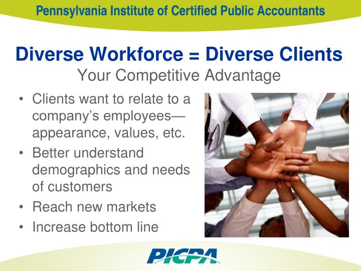 """workforce diversity and competitive advantage commerce essay One of the most important advantages is workforce diversity because """"a well performing team will create additional value to a company by combining individuals ."""