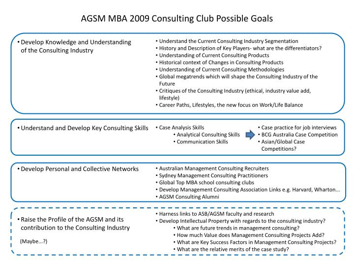 agsm mba 2009 consulting club possible goals n.