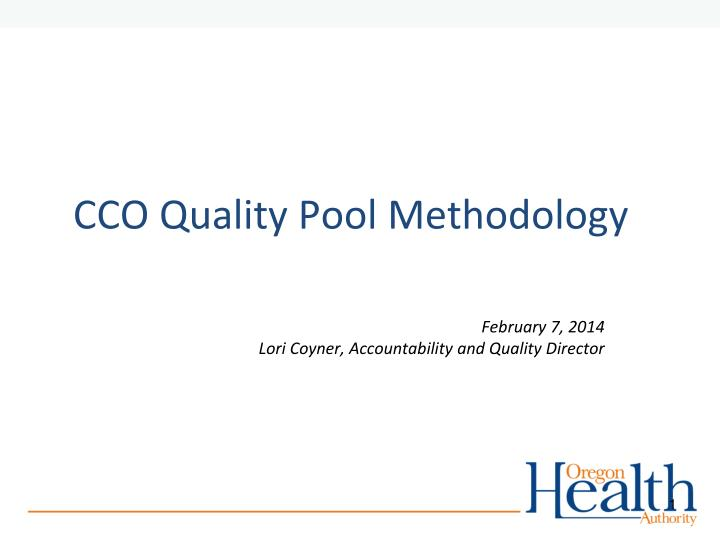 cco quality pool methodology n.