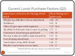 current lunch purchase factors q2