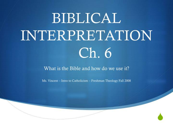 biblical interpretation ch 6 n.