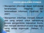 urgensi manajemen iformasi