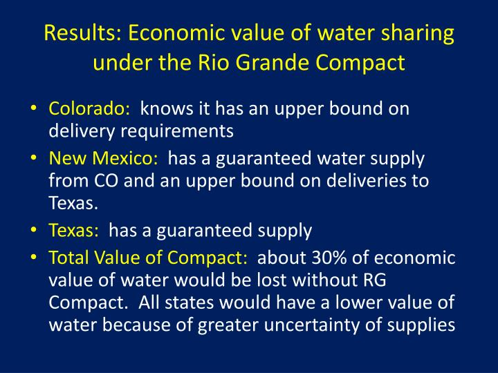 economic value of water In conducting the study, the epa is hampered by a lack of specific data about the value of water and its economic impact some reasons why there is not more detailed information on the value of water include a lack of market transaction data, limited pricing data because water rights are only infrequently bought and sold, and altered prices.