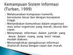 kemampuan sistem informasi turban 1999