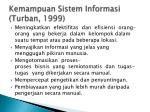 kemampuan sistem informasi turban 19991