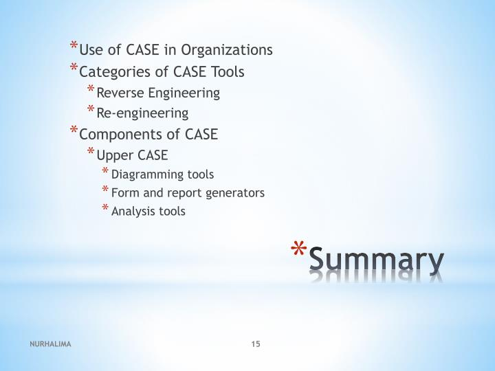 Use of CASE in Organizations