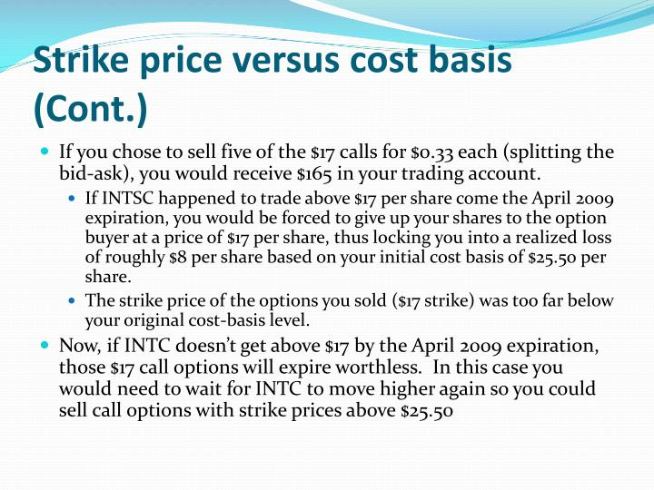 Strike price versus cost basis (Cont.)