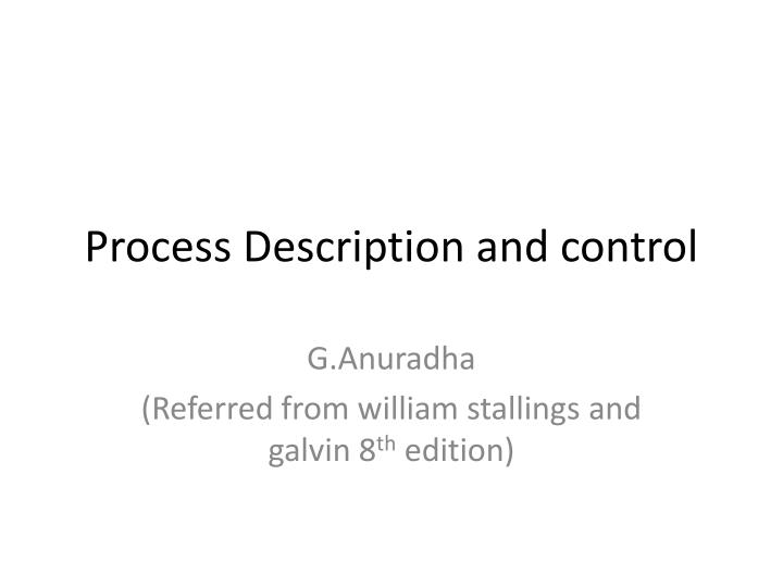 process description and control n.