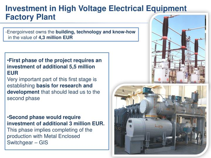 Investment in High Voltage Electrical Equipment Factory Plant
