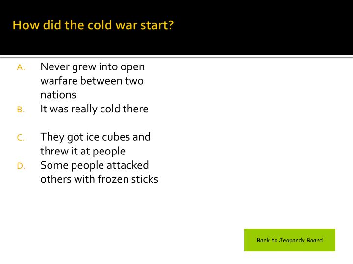 How did the cold war start?