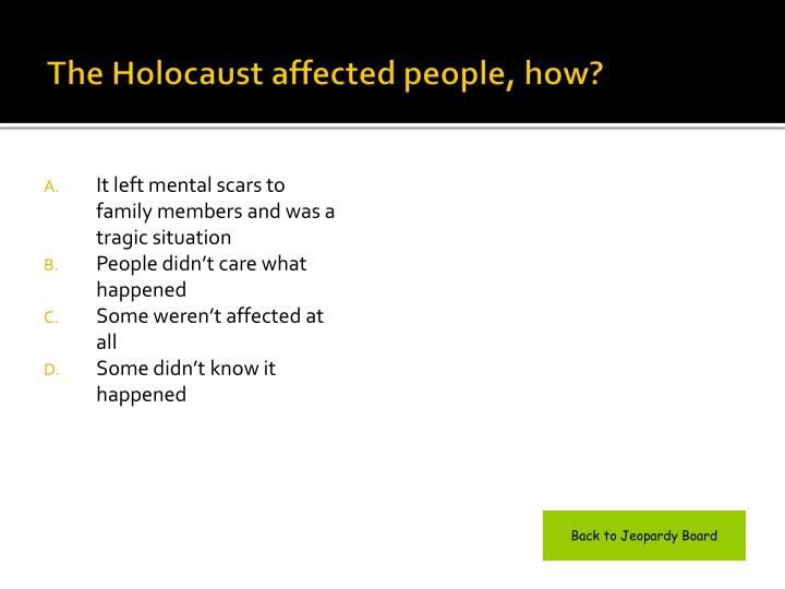 The Holocaust affected people, how?
