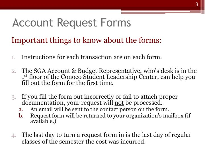 Account request forms