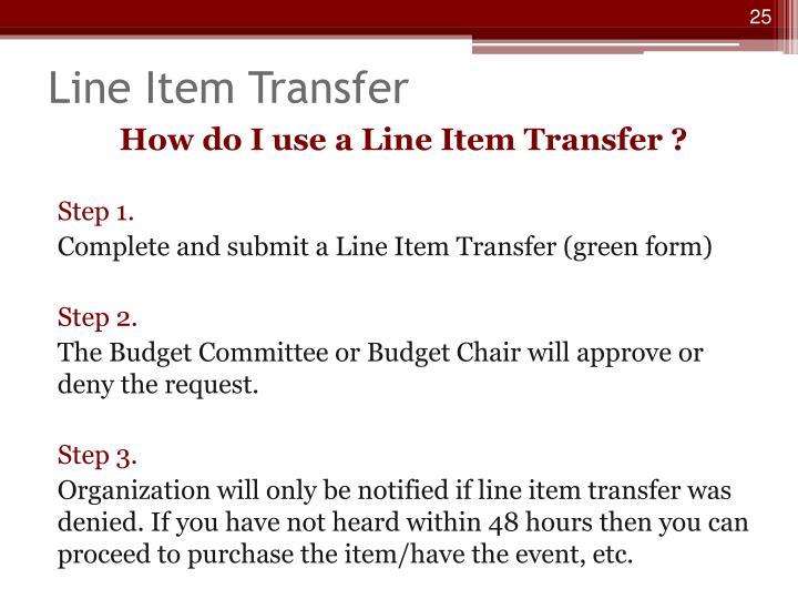 Line Item Transfer