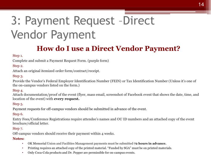 3: Payment Request –Direct