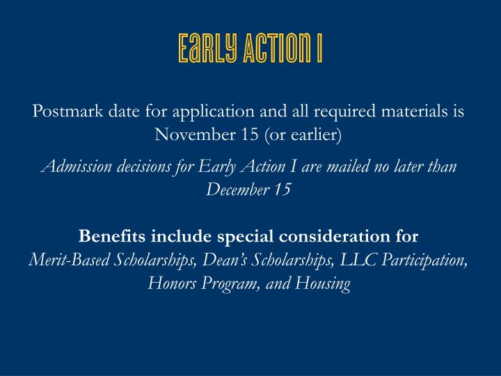 Postmark date for application and all required materials is November 15 (or earlier)