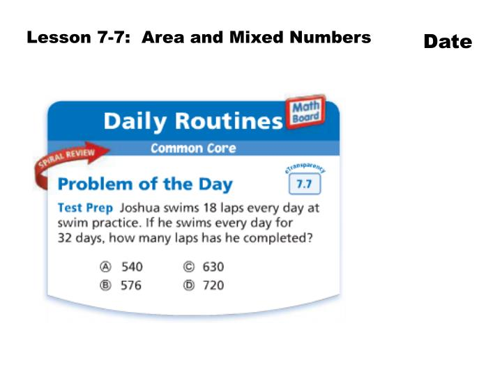 Lesson 7-7:  Area and Mixed Numbers