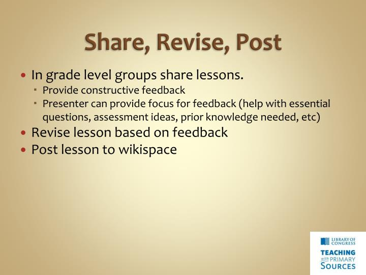 Share, Revise, Post