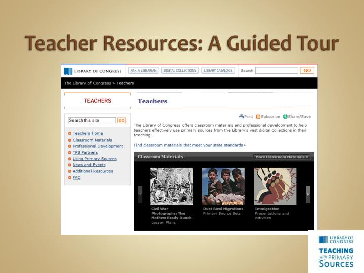 Teacher Resources: A Guided Tour