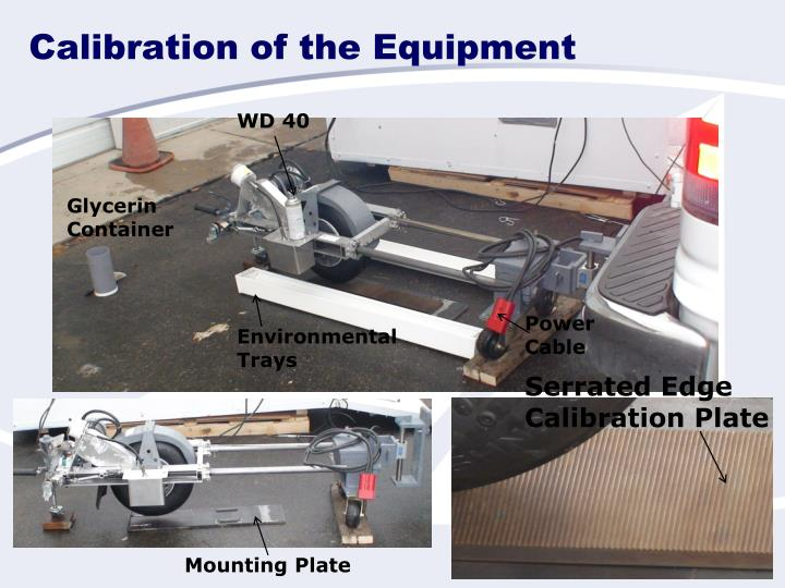 Calibration of the Equipment