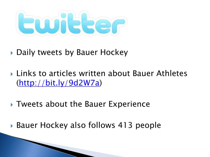 Daily tweets by Bauer Hockey