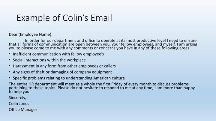 Example of Colin's Email