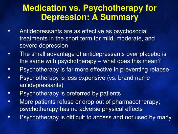 Medication vs. Psychotherapy for Depression: A Summary