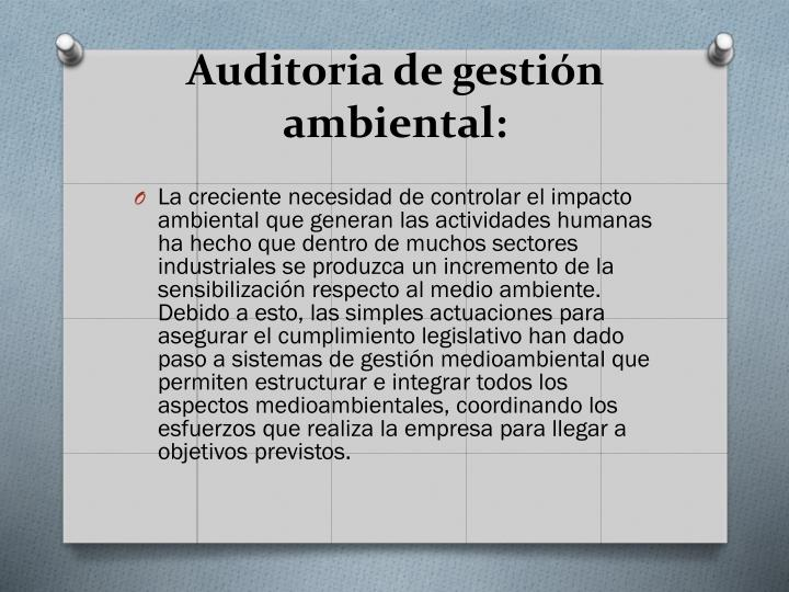 Auditoria de gestión ambiental: