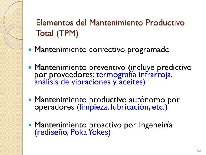 Elementos del Mantenimiento Productivo Total (TPM)