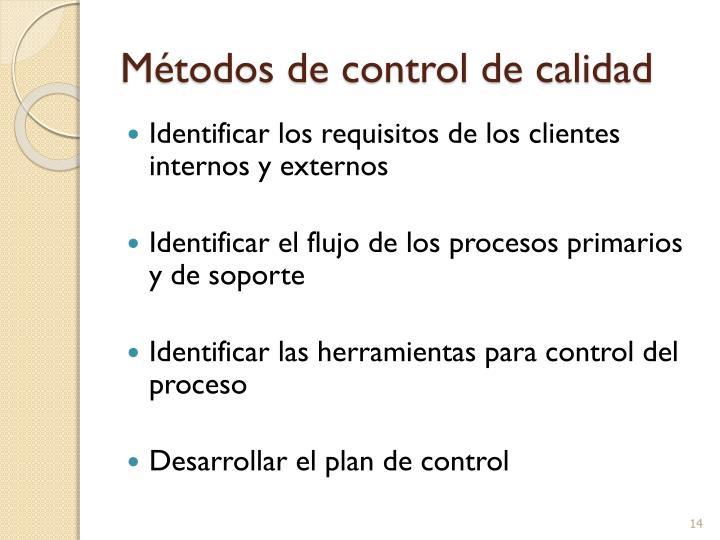 Métodos de control de calidad