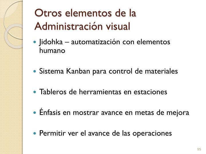 Otros elementos de la Administración visual