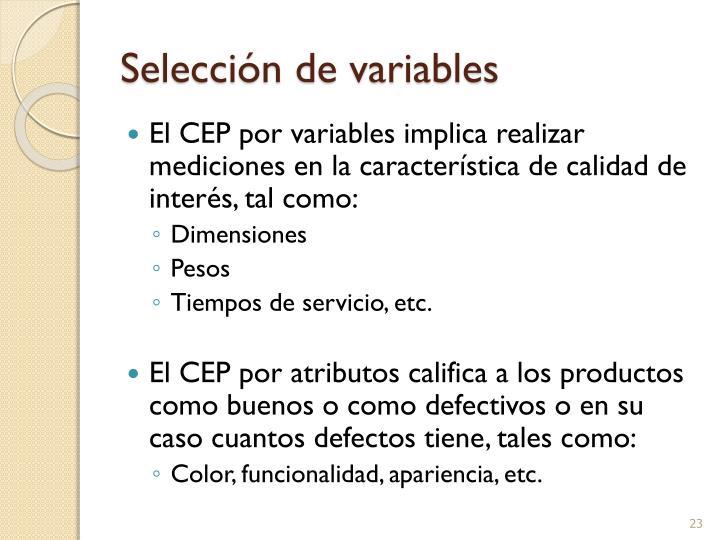 Selección de variables