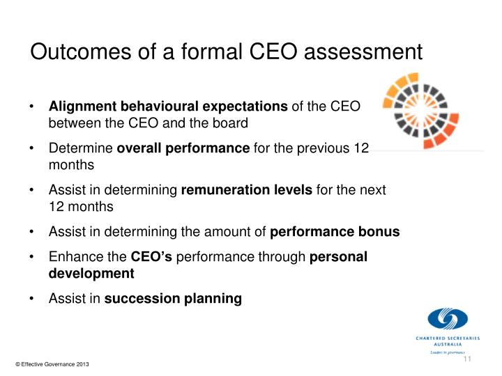 Outcomes of a formal CEO assessment