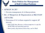 basic policies for management of dod civilian positions