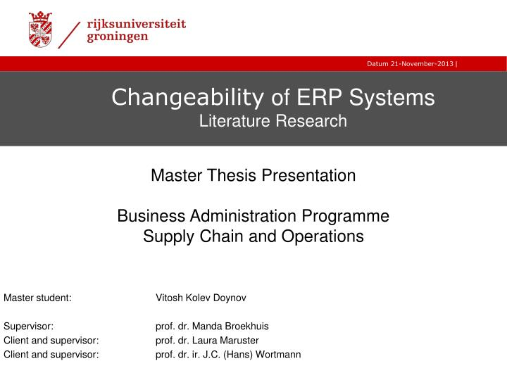 changeability of erp systems literature research n.