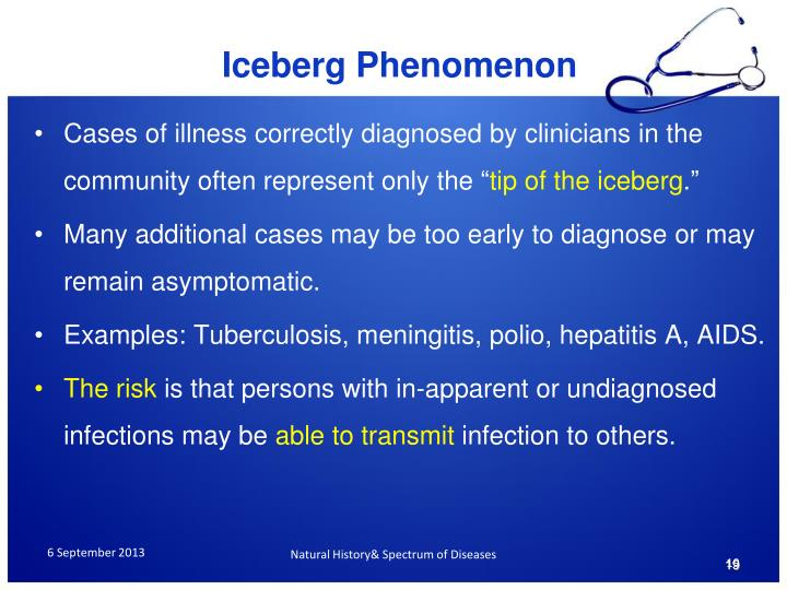 """Cases of illness correctly diagnosed by clinicians in the community often represent only the """""""