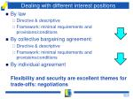 dealing with different interest positions