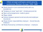 initial concept and basis social security continental western europe 1950 1980
