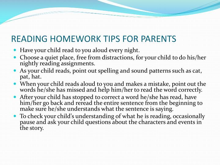 READING HOMEWORK TIPS FOR PARENTS