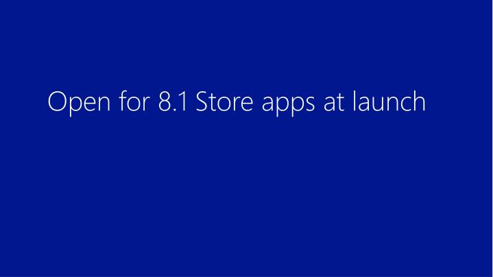 Open for 8.1 Store apps at launch