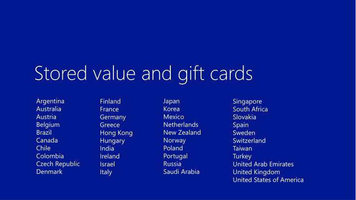 Stored value and gift cards