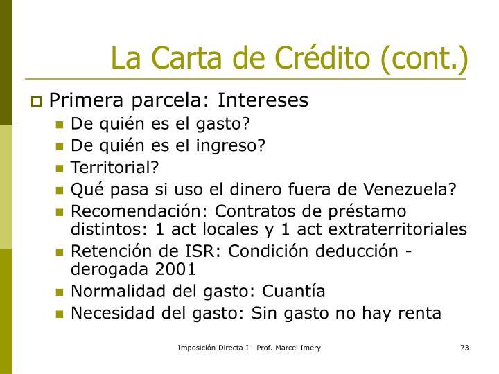 La Carta de Crédito (cont.)
