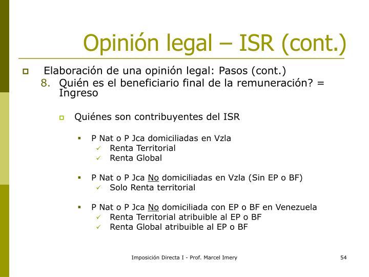 Opinión legal – ISR (cont.)