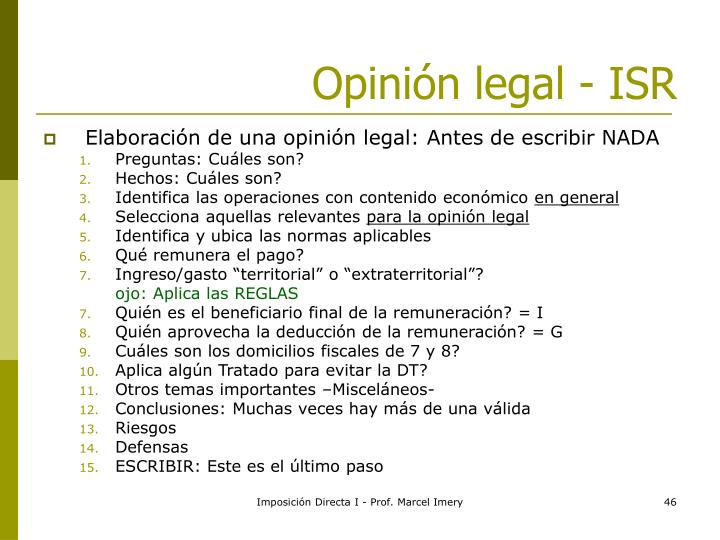 Opinión legal - ISR