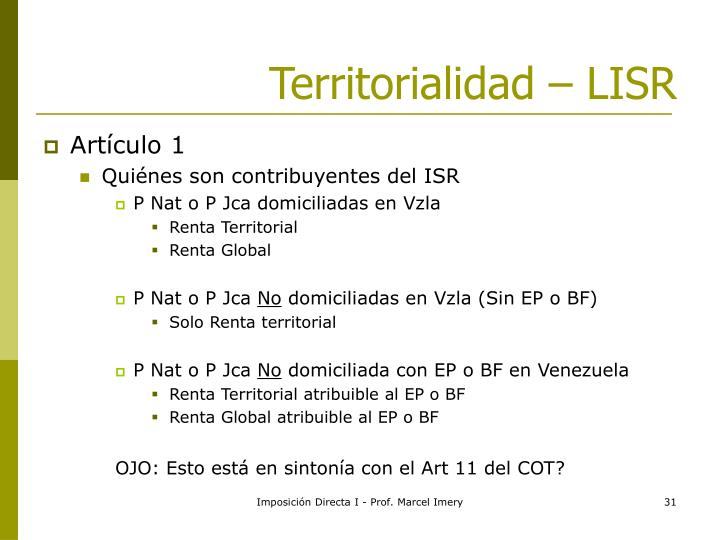 Territorialidad – LISR