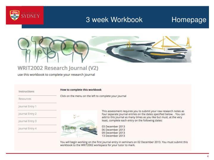 3 week Workbook